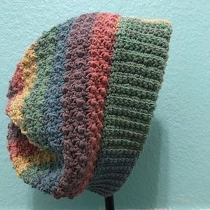 Slouchy crochet rainbow beanie